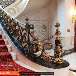 Cầu thang sắt mỹ thuật phong cách Hoàng gia CT009